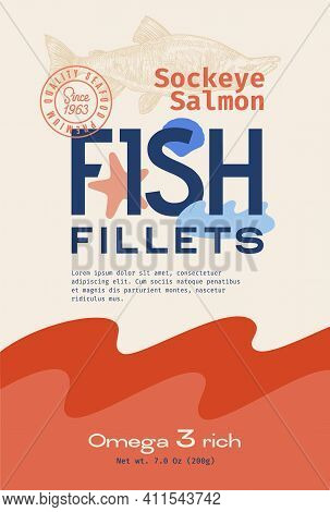 Fish Fillets Abstract Vector Packaging Design Or Label. Modern Typography, Hand Drawn Sockeye Salmon