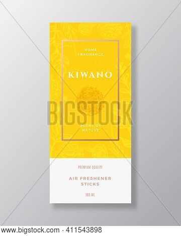 Kiwano Fruit Home Fragrance Abstract Vector Label Template. Hand Drawn Sketch Flowers, Leaves Backgr