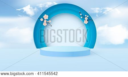 Minimal Scene With Geometric Shapes. Cylindrical Podium In Light Blue With Paper Spring Flowers. Sce