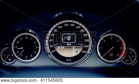 Modern Car Speedometer Close Up. Dashboard With Speedometer, Tachometer, Odometer.