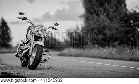 Lodz, Poland - September 23, 2020: Harley-davidson Fat Boy On The Road, Motorcycle Detail.
