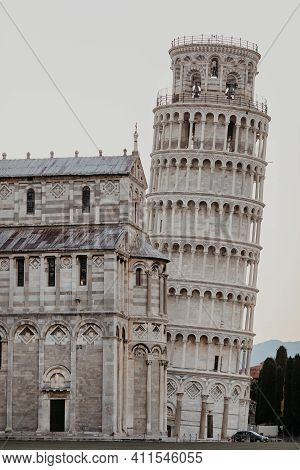 Pisa Italy June 20 2017: The Leaning Tower Of Pisa In Piazza Dei Miracoli In Pisa Italy.