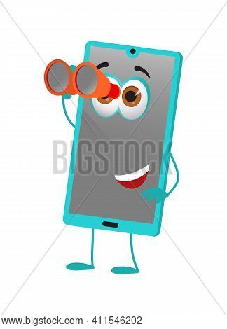 Funny Travel Objects Collection: Funny Smart Phone With Binoculars On White Background, Flat Design