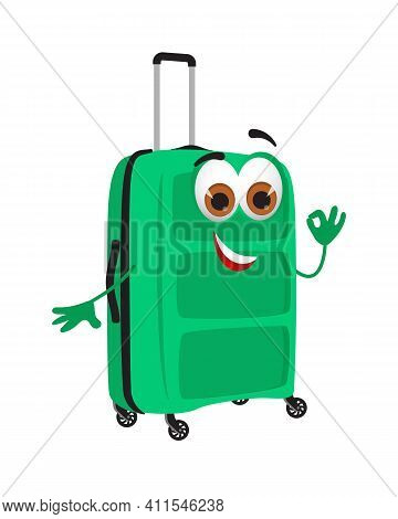 Funny Travel Objects Collection: Funny Valise On White Background, Flat Design Vector Illustration