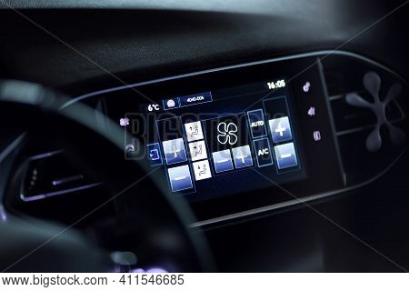 Modern Car Climate Control Panel Display For Driver And Passenger With Shallow Depth Of Field. Zone