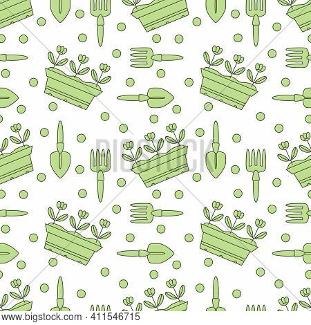 Seamless Pattern With Gardening Tools And Sowing Seeds, Growing Seedlings. Planting Seedlings In A B