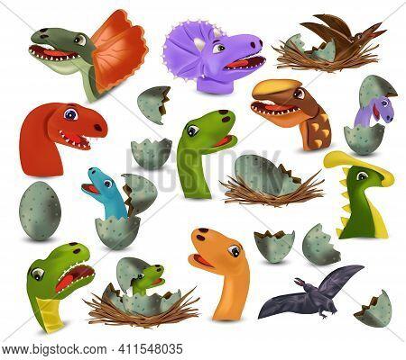Collection Dinosaur Heads And Eggs Dinosaur. Dinosaurs Tyrannosaurus, Brachiosaurus, Pterodactyl, Tr