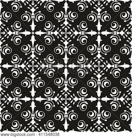 Tile Black And White Background Or Seamless Dark Vector Pattern