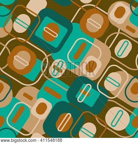 Abstract Elements Of A Square And Oval Shape In Gree And Beige Tones On A Brown Background. Geometri