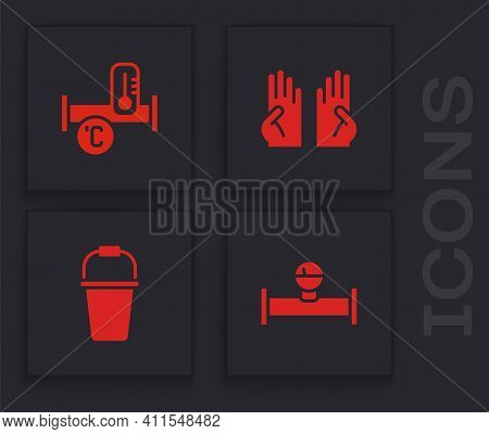 Set Industry Pipe And Manometer, Metallic, Rubber Gloves And Bucket Icon. Vector