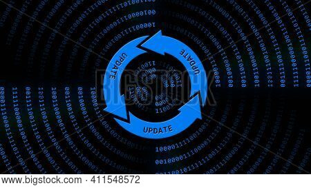 Update Lettering On Update Sign In Center Of Binary Code Circles - Graphic Elements In Blue On Black