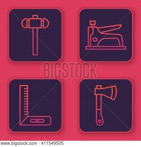 Set Line Sledgehammer, Corner Ruler, Construction Stapler And Wooden Axe. Blue Square Button. Vector