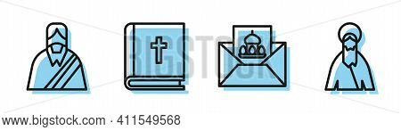 Set Line Greeting Card With Happy Easter, Jesus Christ, Holy Bible Book And Jesus Christ Icon. Vecto