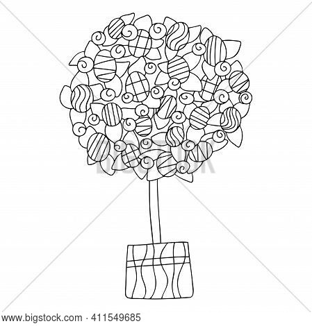 Happy Easter Home Decor Topiary Stock Vector Illustration Black And White. Topiary With Eggs, Flower
