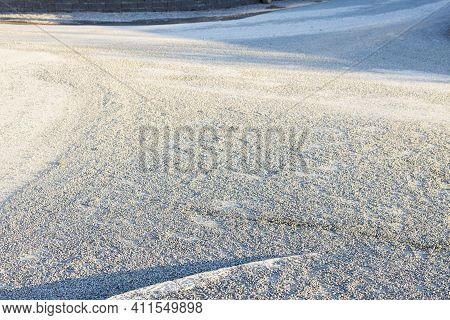 Close Up View Of Gravel Ground. Gray Gravel Background. Sweden.