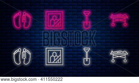 Set Line Mourning Photo Frame, Shovel, Dead Body And The Morgue. Glowing Neon Icon On Brick Wall. Ve
