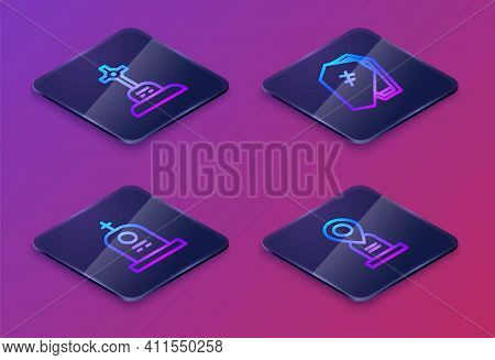 Set Isometric Line Grave With Cross, Tombstone, Coffin And Location Grave. Blue Square Button. Vecto