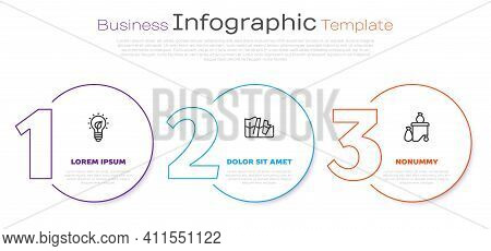 Set Line Light Bulb With Leaf, Glacier Melting And Full Dustbin. Business Infographic Template. Vect