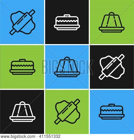 Set Line Rolling Pin On Dough, Pudding Custard And Cake Icon. Vector