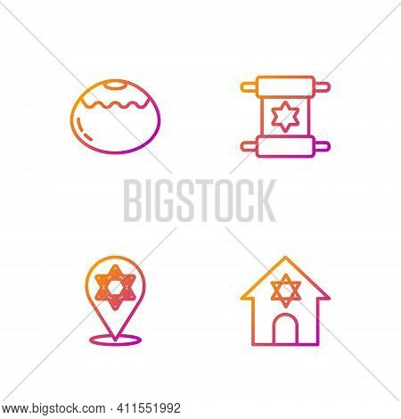 Set Line Jewish Synagogue, Star Of David, Sweet Bakery And Torah Scroll. Gradient Color Icons. Vecto