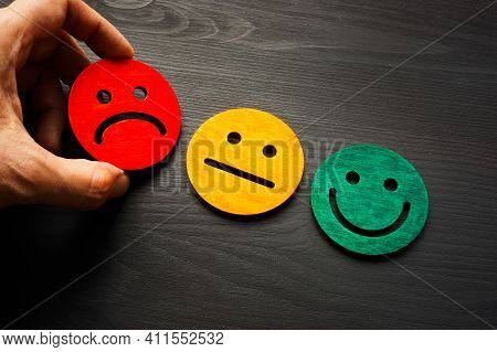 Negative Feedback And Rate With Bad Smile Face.