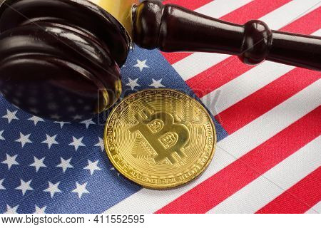 Crypto Regulation Law In Usa. Gavel, Flag And Bitcoin.