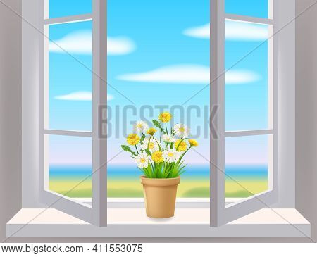 Open Window In Interior, View On Landscape, Spring, Flower Pot With Flowers Daisy And Dandelions On