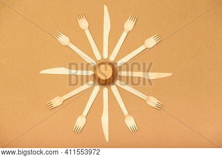 Zero Waste Background, Disposable Paper Cup, Forks And Knives. Save The Planet Concept