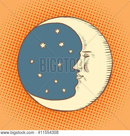 Luna Is A Character. A Crescent Moon In The Night Sky. Face. Comic Book Cartoon Pop Art Hand Drawing