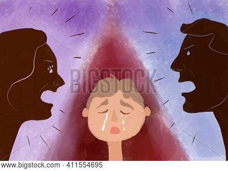 Illustration Of A Family Quarrel Between Parents And The Tears Of A Child Against The Background Of