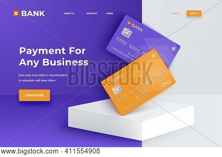 Bank Cards On A Square White Podium. Realistic Mockup Credit Cards For Finance, Bank Or Shopping. Di