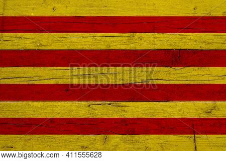 Flag Of Catalonia. Wooden Texture Of The Flag Of Catalonia.