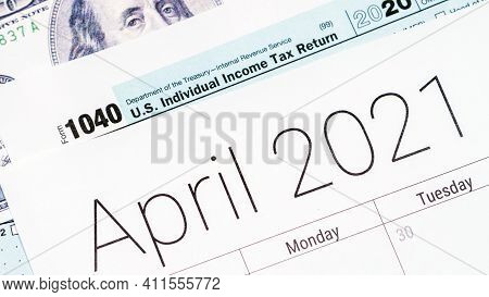 April 2021 Calendar With Usa 1040 Tax Day Form.