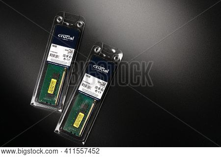 Moscow, Russia - March 3 2021: Branded Ram Bars For A High-capacity Personal Computer On A Black Bac