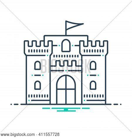Mix Icon For Castle-flag Chateau Mansion Stronghold Citadel Flanker Castle