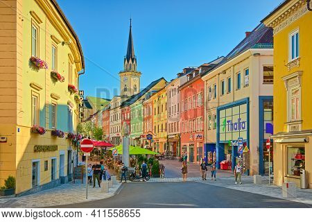 Villach - July 2020, Austria: View Of The Main Street With Colorful Historical Houses And The Main S