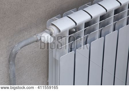 Heating Radiator. Heating Of The House With The Help Of A Water Heating Radiator.