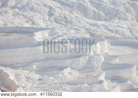 Travertines At Pamukkale, Turkey. Detail Of The Calcium Pools On Travertine Terraces At Pamukkale, C