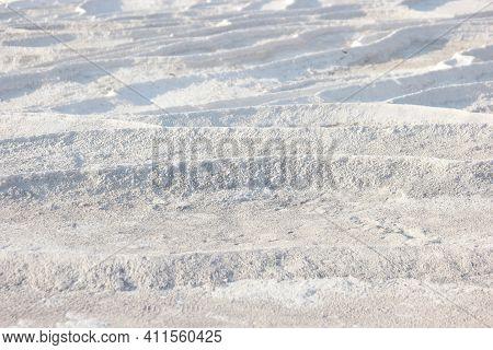 Calcium Travertine Terraces In Pamukkale, Turkey. Limestone Travertine Surface.