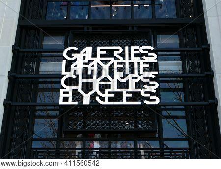 Paris, France. March 07. 2021. View Of The Galeries Lafayette From The Avenue Des Champs-elysées. Lu