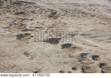 Close Up Of Limestone Travertine At Pamukkale, Turkey. Natural Travertine Stone Texture.
