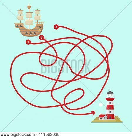 Maze Game For Children. Help The Ship Get To The Lighthouse. Kids Maze. Pirate Game With Labyrinth.
