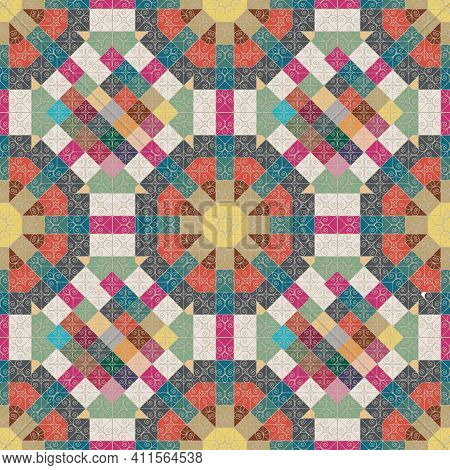 Beautiful Patchwork Seamless Pattern. Seamless Color Pattern. Patchwork Texture. Mosaic. Print For F