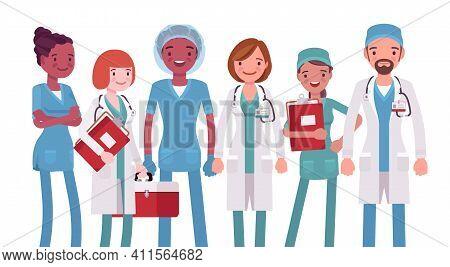 Medical Professionals, Clinic Doctors, Hospital Nurses, Emergency Technicians. Diverse Group Of Heal
