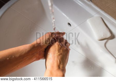 A Woman Washes Her Hands With Soap, Hygiene, Hygienic Procedures, Foam On Female Hands Close-up, Pro