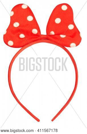 Headband hair holder with red white dotted spotted hair bow tie