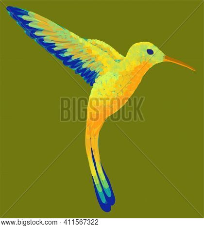 Small Colorful Flying Hummingbird On The Green Background. Vector Illustration.