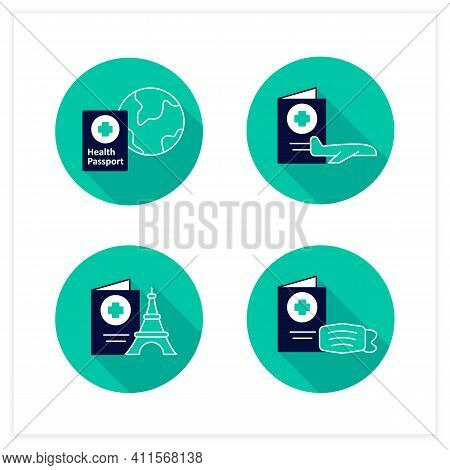 Health Passport Flat Icons Set. Necessary Document For Traveling. Information About Health Status. F