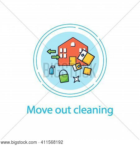 Move Out Cleaning Concept Line Icon. Change Residence. Moving To Another House. Sweeping, Wiping. Cl