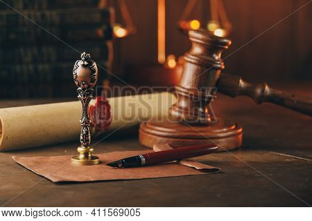 Vintage Stamp, Wooden Gavel, Envelope And Testament. Notary Public Office